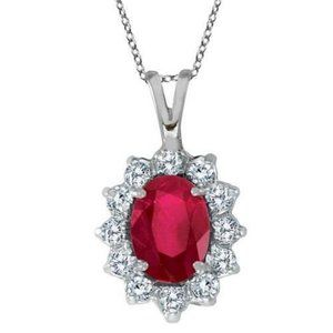 Jewelry - Pendant Necklace Prong Set 8.50 Carats Ruby & Diam